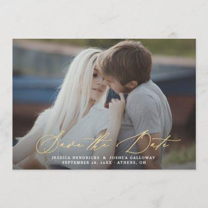 Gold Calligraphy Overlay Photo Save the Date Card