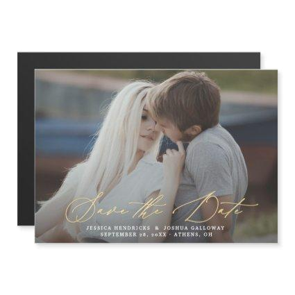 Gold Calligraphy Overlay Photo Save the Date Magnetic Invitation