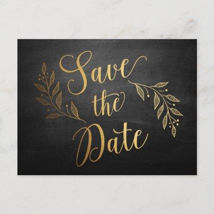 Gold Chalkboard Rustic Save the Date Cards