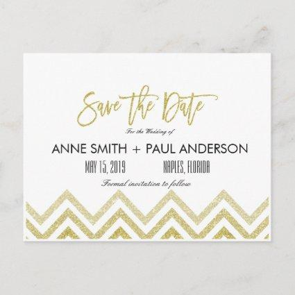 Gold chevron and white Save the Date Announcement