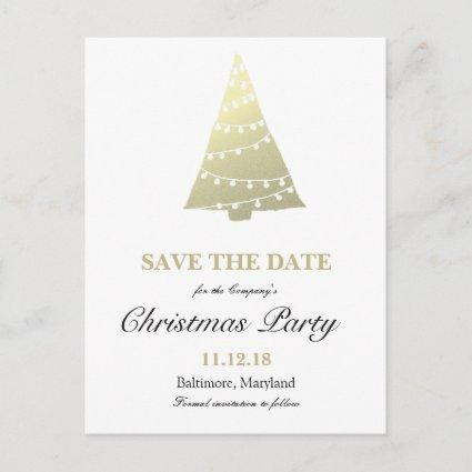 Gold Christmas Tree Christmas Party Save The Date Announcement