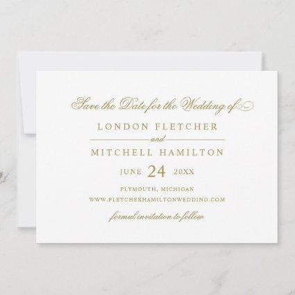 Gold Classic Elegance Wedding White Save The Date