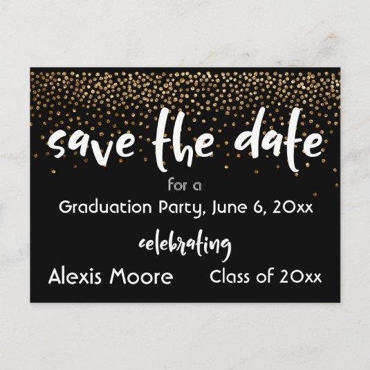Gold Confetti Black Graduation Party Save the Date Announcement
