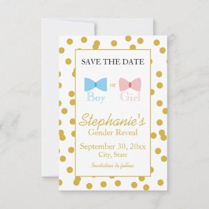 Gold Confetti Gender Reveal Bow and Bow Tie Save The Date