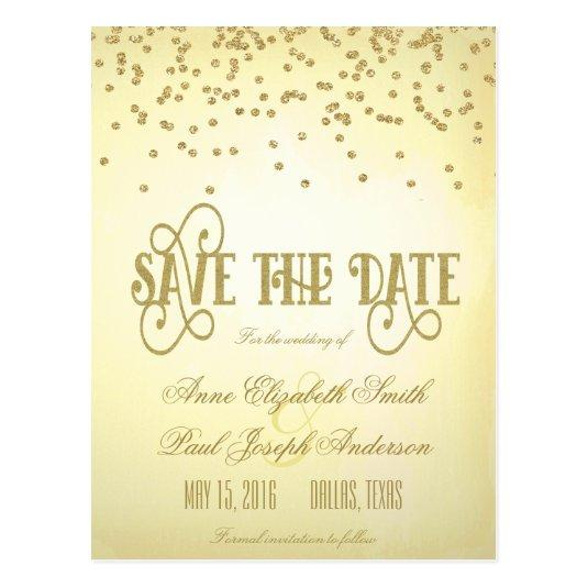 Gold confetti & glitter Save the Date II Cards