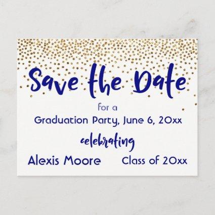 Gold Confetti Navy Graduation Party Save the Date Announcement