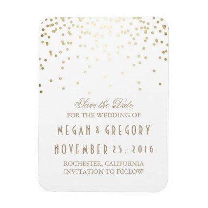 Gold Confetti White Vintage Save the Date Magnet