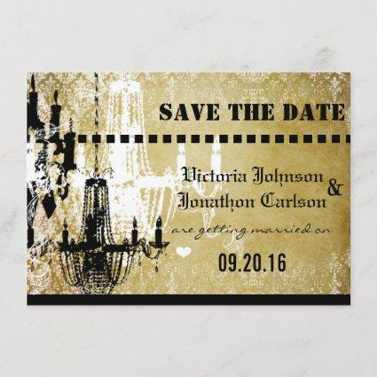 Gold Damask Your Photo on back Chandelier Wedding Save The Date