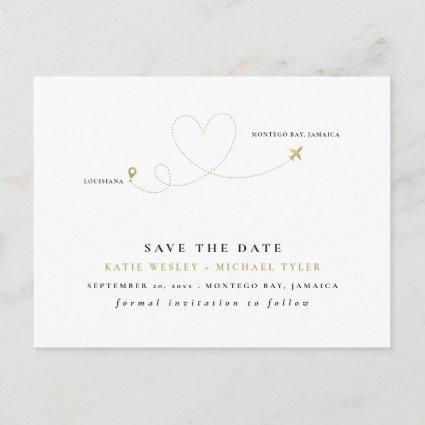 Gold Destination Wedding Save the Date Announcement