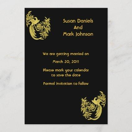 Gold Doves On Black Wedding Save The Date