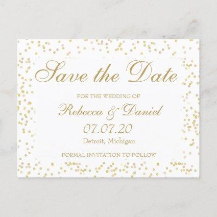 Gold Dust Confetti Save the Date Announcement