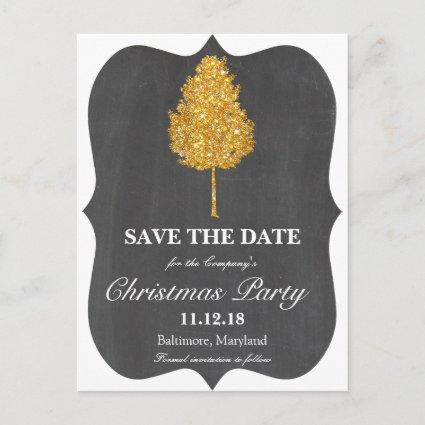 Gold Faux Glitter Tree Chalkboard Christmas Party Announcement