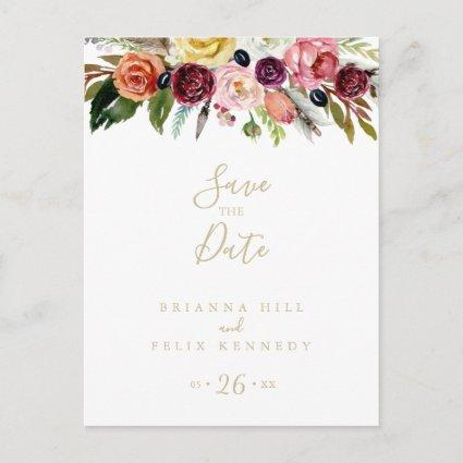 Gold Feather Boho Tropical Floral Save the Date
