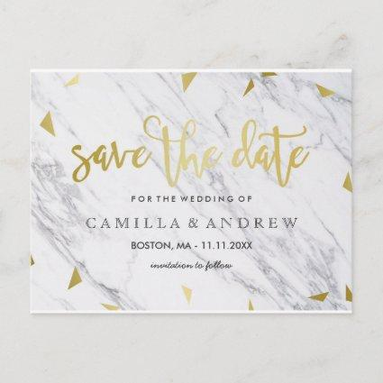 Gold Flecks & Marble | Brush Script Save the Date Announcement