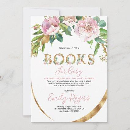 Gold floral lettering Books for Baby Save The Date