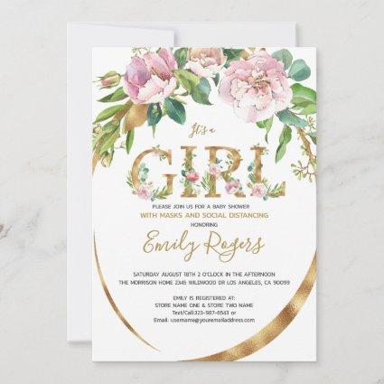 Gold floral lettering Girl baby Shower Save The Date