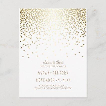 gold foil effect confetti elegant save the date announcement