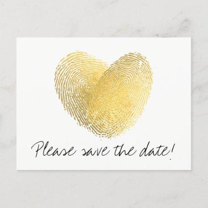 Gold Foil Heart Fingerprint Save the Date Announcement