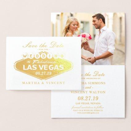 Gold Foil Las Vegas Sign Wedding Save the Date Foil Card