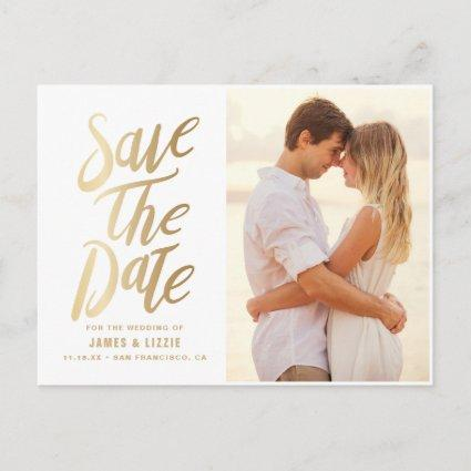 Gold Foil Lettering Photo Save the Date Announcement