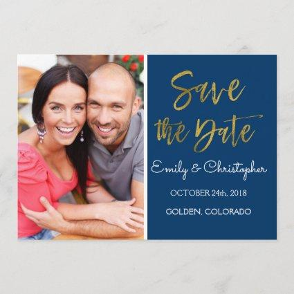 Gold Foil & Navy Blue Save the Date Photo
