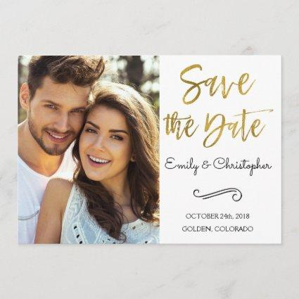 Gold Foil Script Wedding Save the Date Photo