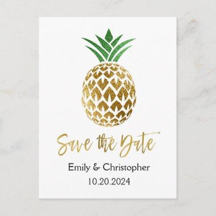 Gold Foil Script Wedding Save the Date Pineapple Announcement