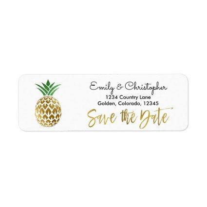 Gold Foil Script Wedding Save the Date Pineapple Label