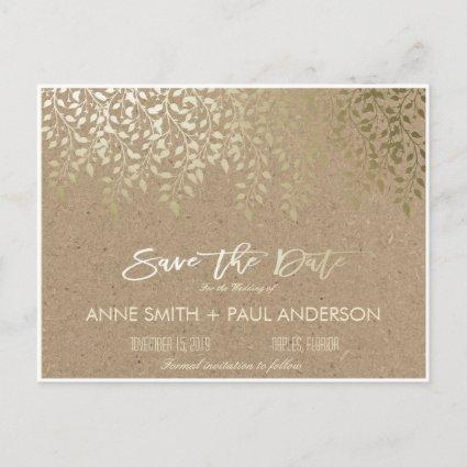 Gold foliage Save the Date Announcement