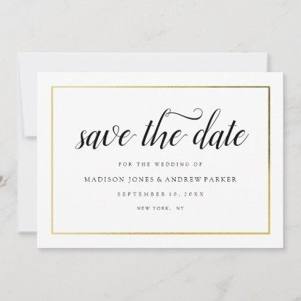 Gold Frame Calligraphy Wedding Save the Date