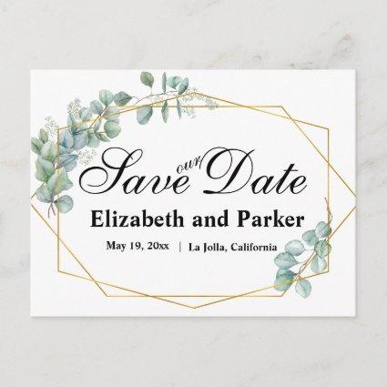 Gold Frame Watercolor Eucalyptus Save Our Date Announcement