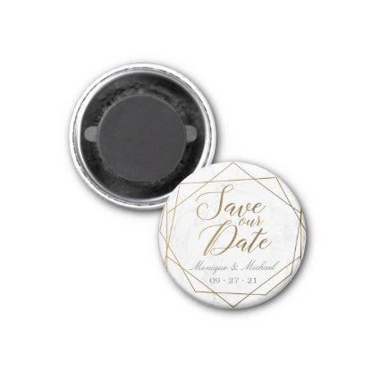 Gold Geometric Art Deco Marble Save Our Date Magnet