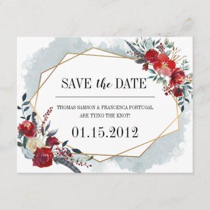 Gold Geometric Boho Floral Wedding Save the Date