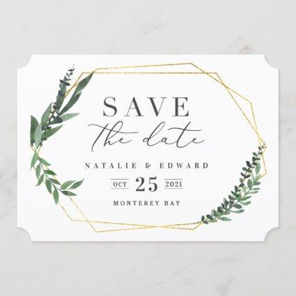 Gold geometric frame leafy photo save the date