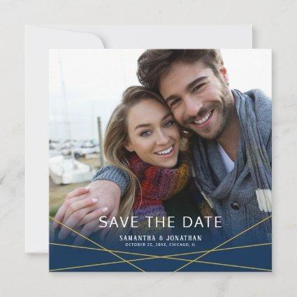 Gold Geometric Lines | Square Photo Save the Date