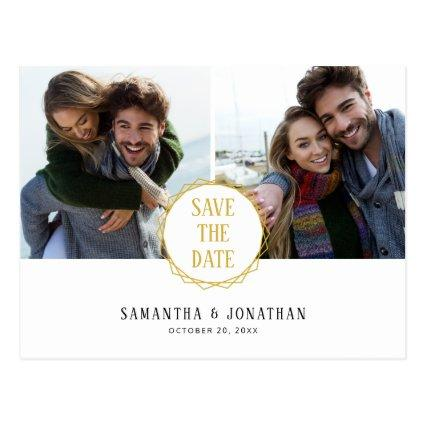 Gold Geometric Minimal | 2 Photos Save the Date Cards