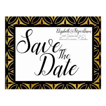 Gold Geometric Save the Date Cards