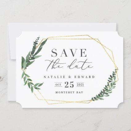 gold geometric watercolor foliage save the date