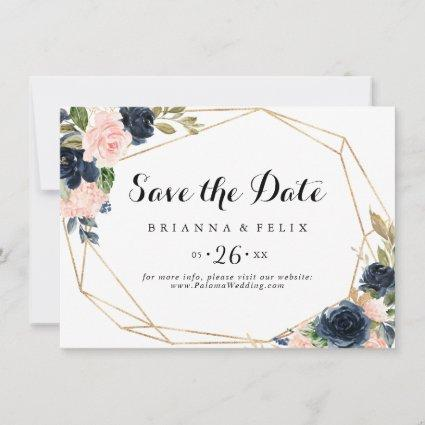 Gold Geometric Winter Floral Horizontal Wedding Save The Date
