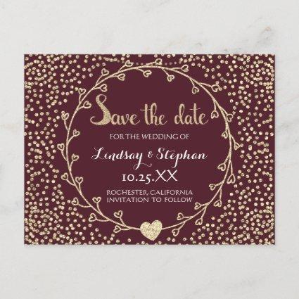 Gold Glitter Confetti Champaigne Save the Date Announcement