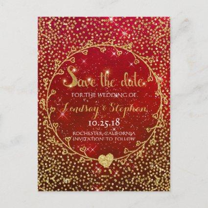 Gold Glitter Confetti Glam Red Save the Date Announcement
