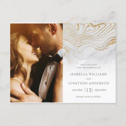 Gold Glitter Marble Wedding Save The Date Announcement