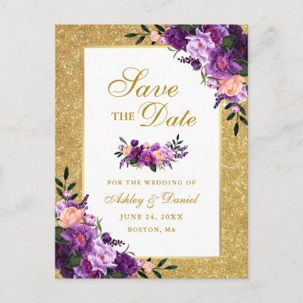 Gold Glitter Purple Violet Floral Save the Date Announcement