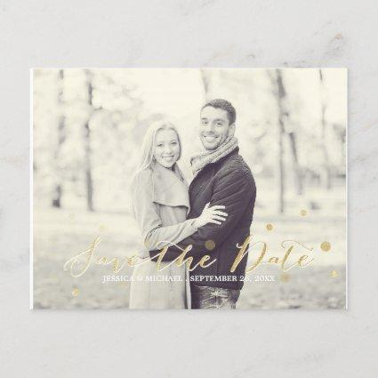 Gold Glitter Save the Date Announcement