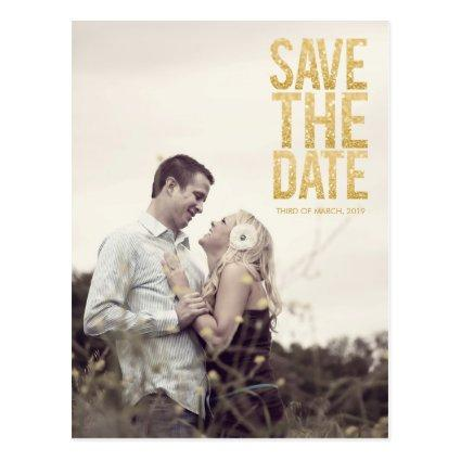 Gold Glitter Save the Date Typography Announcements Cards