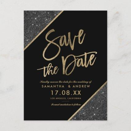 Gold glitter script black save the date announcement