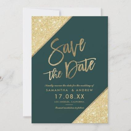 Gold glitter script emerald green save the date