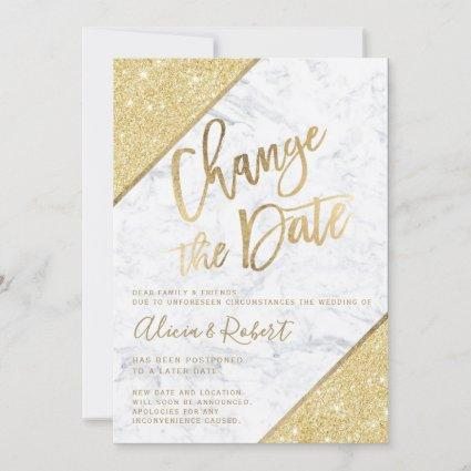 Gold glitter script marble chic change the date save the date