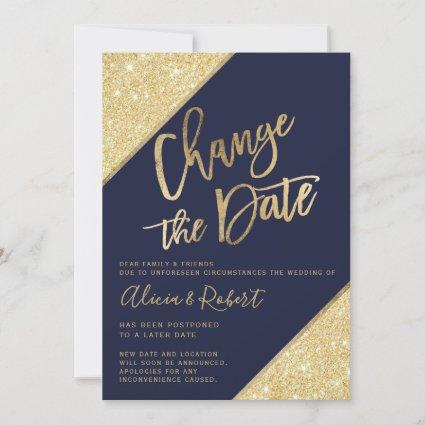 Gold glitter script navy blue chic change the date save the date