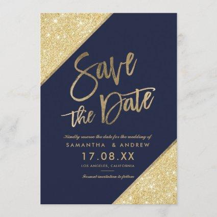 Gold glitter script navy blue save the date